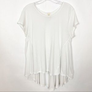 FREE PEOPLE Overall Flowy Tee White Small